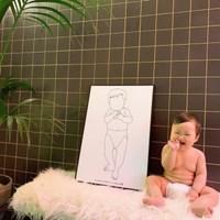 (너나들이) 신생아실제크기 드로잉액자 출산선물