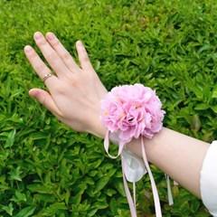 브라이덜샤워 꽃팔찌 핑크