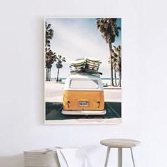 옐로우버스 해변 풍경 액자 인테리어 여름 그림 포스터