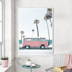 핑크버스 해변 풍경 액자 인테리어 여름 그림 포스터