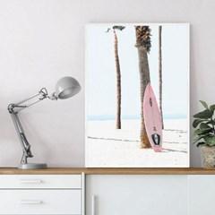 핑크보드 서핑 액자 인테리어 여름 그림 포스터