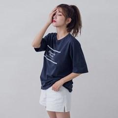 [로코식스] 라운드넥 레터링 5부 티셔츠_(1060041)