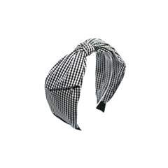 gingham check hairband (black)