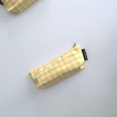 옐로우 체크 필통(Yellow check pencil case)