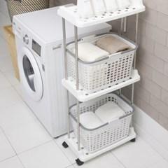 브로스 빨래바구니 이동식 세탁선반 3단