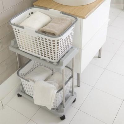 브로스 빨래바구니 이동식 세탁선반 2단