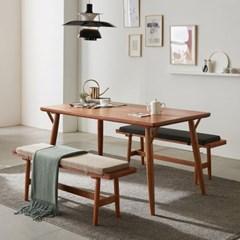 리치 4/6인용 원목 식탁테이블 1500세트(벤치2개 포함)