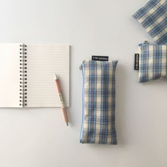 빈티지 블루 믹스 체크 필통(Vintage blue check pencil case)
