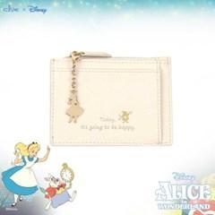 [디즈니X클루] 러블리 앨리스 키링 아이보리 카드 지갑 CLAB19841SIP