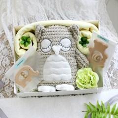 부엉이오르골&목욕타올 우드딸랑이 세트 (출산선물)