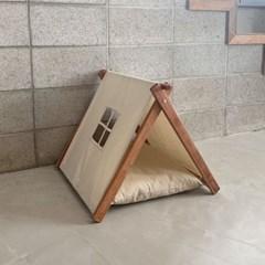 반려동물 삼각 텐트 하우스_월넛 아이보리