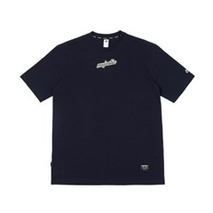 ML183UCATS002 레터링 크루넥 티셔츠 (네이비)
