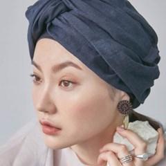 Linen Navy Turban