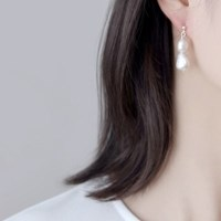 (92.5 silver) evening pearl earring