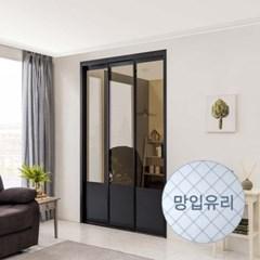 리아 ㅡ자형 슬림 3연동 중문 시공 망입유리 1800(오픈형)