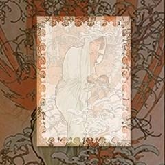 알폰스 무하 사계 : 겨울 명화 떡메모지