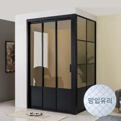 리아 ㄱ자형 슬림 3연동 중문 시공 망입유리 1500(하부고시형)