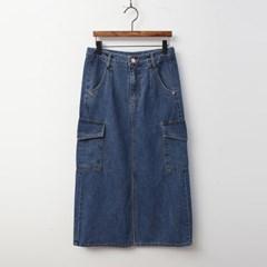 Cargo Denim Long Skirt