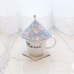 {Cup Cover}스페셜에디션_블루 핑크 플라워 컵커버(컵덮개,컵뚜껑)