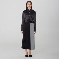 [디바이디그낙] Stripe Pleated Long Skirt BK