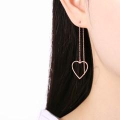 러블리 하트 드롭 로즈골드 체인 귀걸이 OTE118621NPP