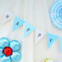 DIY 파티 삼각가랜드(알파벳스티커 포함) 블루