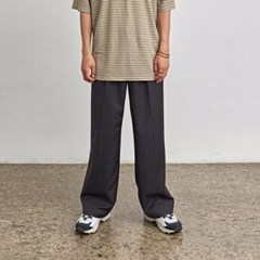 ONE TUCK WIDE-PIT SLACKS_BLACK
