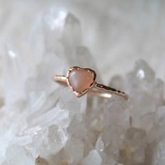 피치 문스톤 하트 로즈 반지