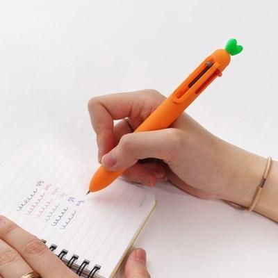 핑크풋 당근 6색 볼펜