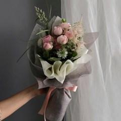 [생화] 맨스필드 로즈 장미 꽃다발 (연핑크)