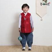 [복주머니 증정] 꽃다비 갈포 먹홍 남아 한복