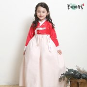 [복주머니 증정] 꽃다비 면옥사 홍 금박 여아 한복