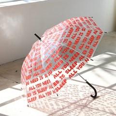 투명 우산 - 타이포 레드