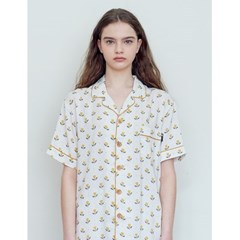 더시원한 여름잠옷 셔츠 - 튤립 아이보리