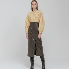 LEATHER LONG SKIRT_BROWN