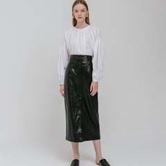 LEATHER LONG SKIRT_BLACK
