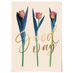 패브릭 포스터 F307 식물 튤립 레터링 액자 Good day