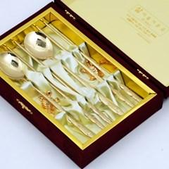 명품 장수 산삼 티타늄 수저세트 2벌 금거북