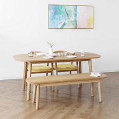 [오크] A3형 커브식탁/테이블 세트 : 화이트오크_(1365018)
