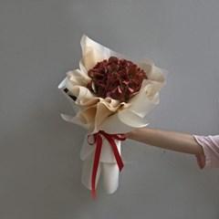 [드라이플라워] 레드 수국 꽃다발