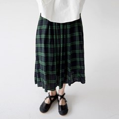 gingham check crease skirts (green)_(1325149)