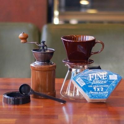 [알럽커피] 커피세콩 핸드드립세트 (도자기+필터+유리서버+핸드밀)
