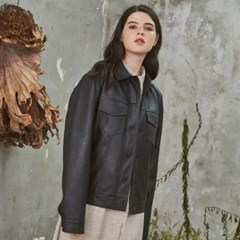 Charming Leather Short Jacket Black
