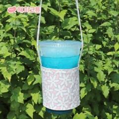 [해피코튼] 방수 드링크백 컵홀더/ 플라워가든 핑크