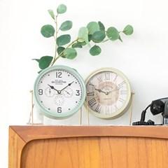 올드타운 빈티지 원형 탁상시계 2color