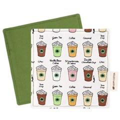 [해피코튼] 티코스터 코스터 컵받침/ 카페 그린