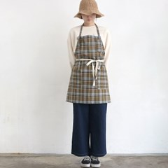 khaki check short apron