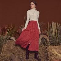 Soft Slit Long Skirt Red