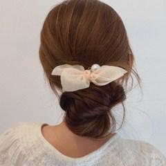 로렌 쉬폰 곱창 머리끈