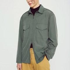 라이트 메탈릭 셔츠 자켓 카키_(1266726)